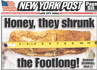 Image result for measuring a subway footlong