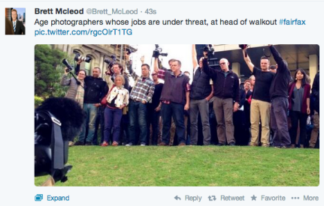 Photographers at The Age protesting the redundancies.