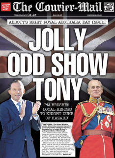 The front page of this morning's Courier Mail summed up a lot of sentiment around the decision to knight Prince Philip