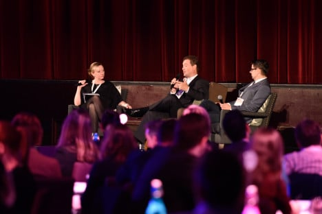 L-R: Kylie Merritt, Shaun James and Eric Kearney on stage at ASTRA 2015 Conference