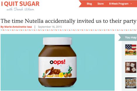 Nutella I Quit Sugar
