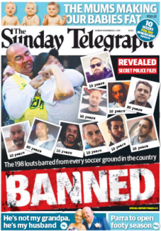 The offending Sunday Telegraph front page