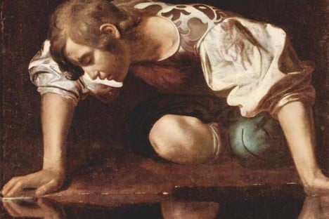 Caravaggio's depiction of Narcissus -credit- Wikimedia Commons