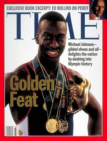 Michael-Johnson-time-cover-gold-nike-shoes