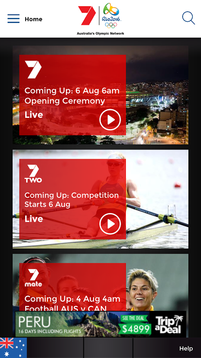 seven olympics app homepage