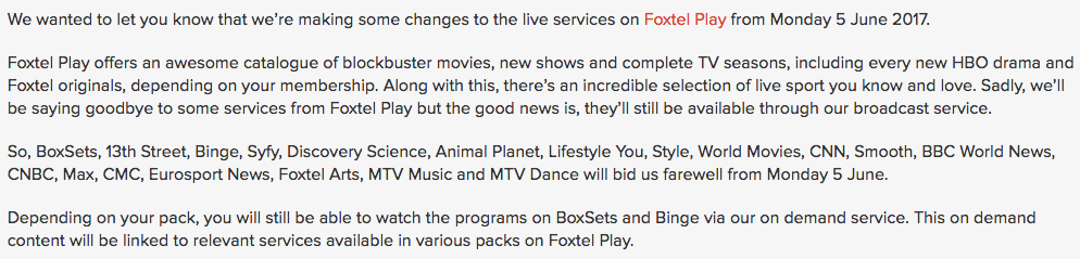 19 channels deleted from Foxtel Play lineup but broadcaster won't